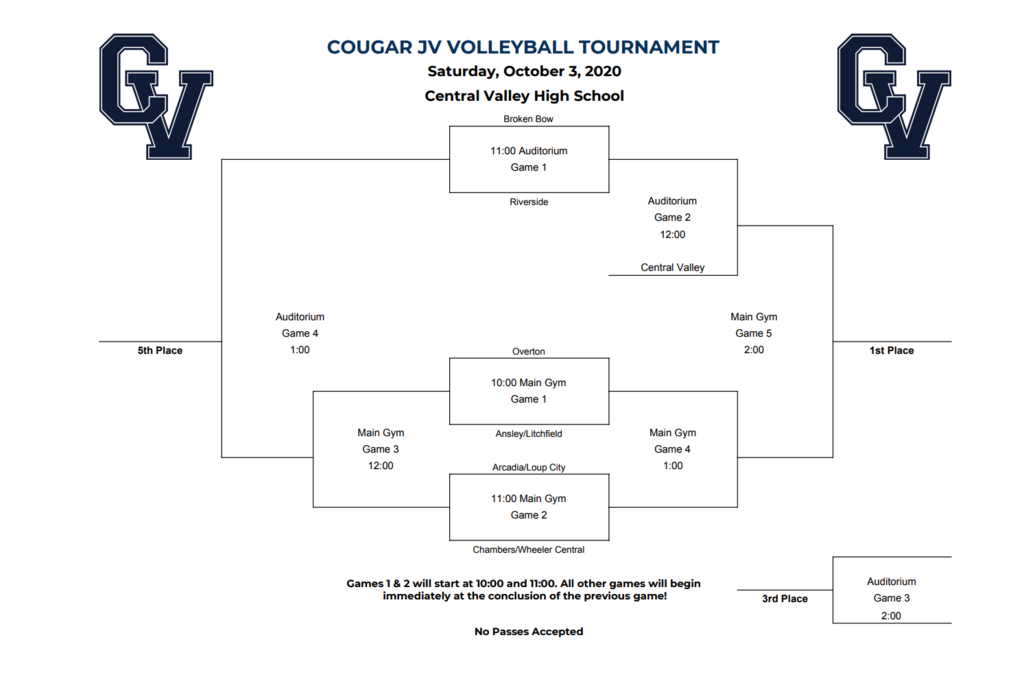 JV volleyball tournament bracket