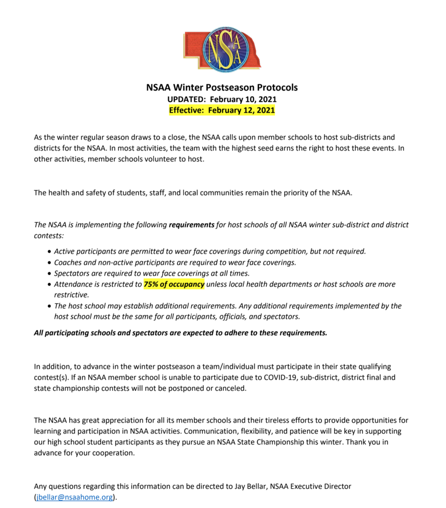 February 10 NSAA Updated Protocols