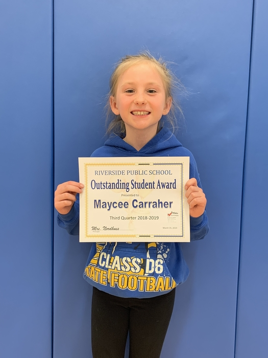 Third Quarter 3-5th grade Outstanding Student Maycee
